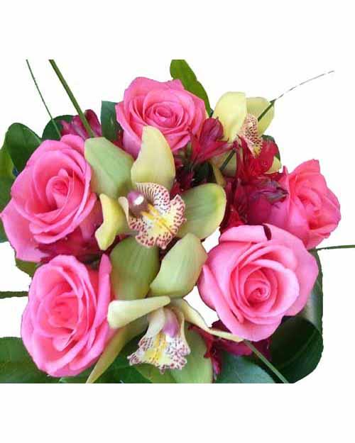 Букет из розы, орхидеи и альстромерии