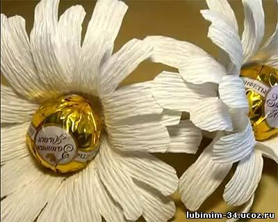Букет из конфет своими руками ромашки мастер класс